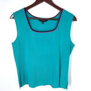 Ming Wang  Blue Turquoise Acrylic Knit Scoop Tank